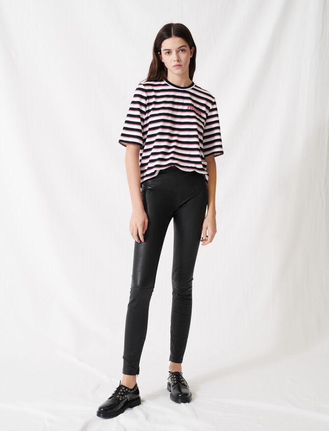 Legging cuir stretch taille haute - Hosen & Jeans - MAJE