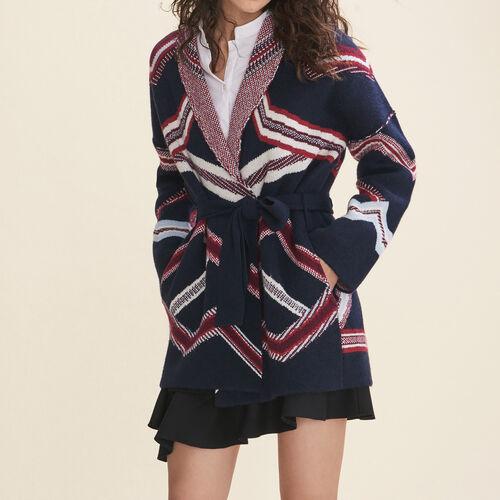 Cardigan aus Jacquard : Pulls & Cardigans farbe Marineblau
