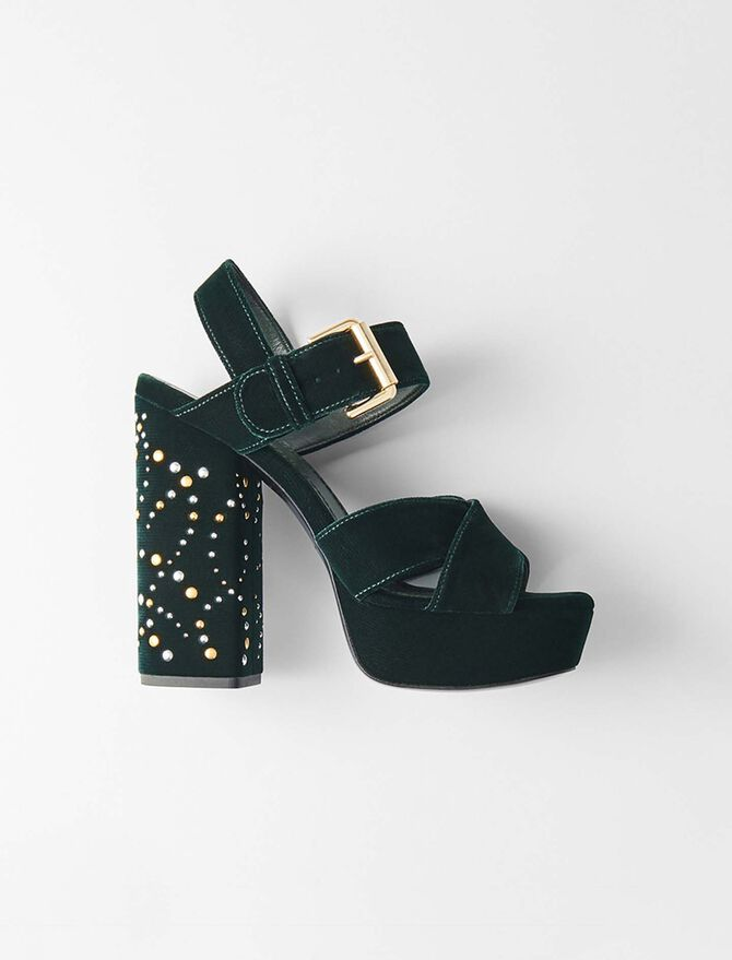 Absatz Sandalen aus Velour mit Studs -  - MAJE
