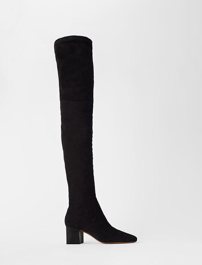 Absatz-Overknees aus Velours-Ziegenleder - Stiefel & Boots - MAJE
