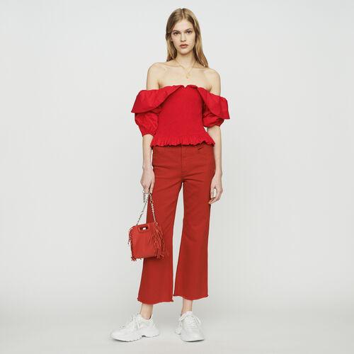 Gesmoktes schulterfreies Top : Tops & Hemden farbe Rot