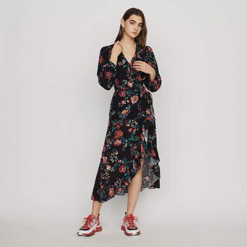 Langes Wickelkleid aus Krepp : Kleider farbe IMPRIME