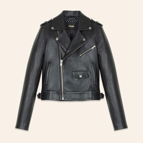 Blouson aus verklebtem Leder : Jacken farbe Schwarz