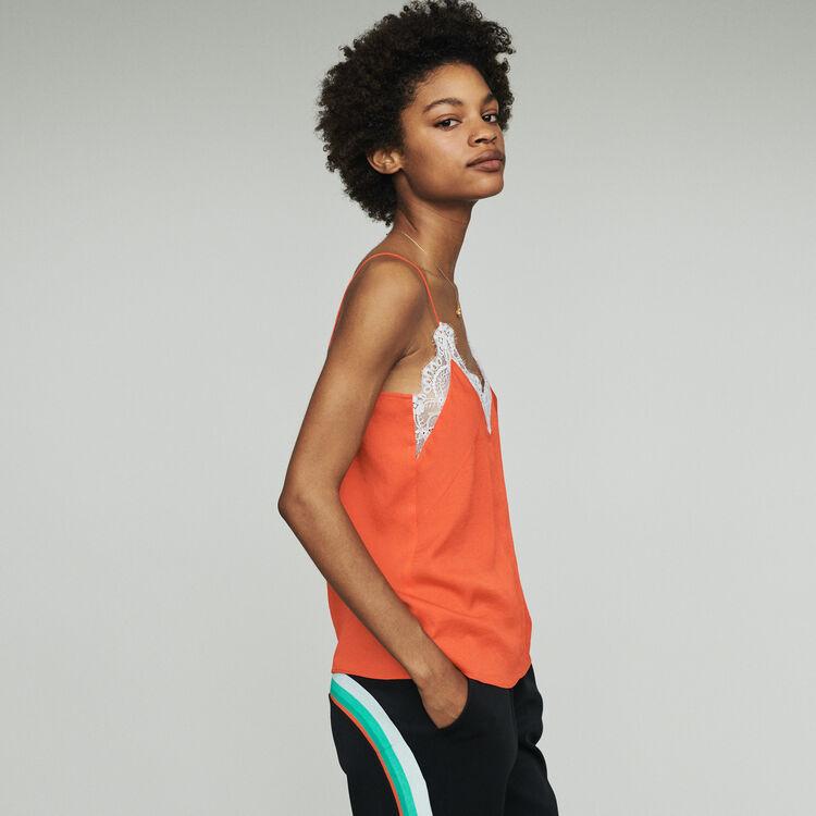 Unterhemd mit Spitzenbesatz : Tops farbe Orange