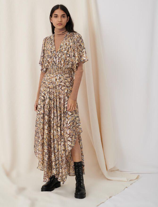 Gesmoktes Jacquard-Kleid mit Lurex - Neue Kollektion - MAJE