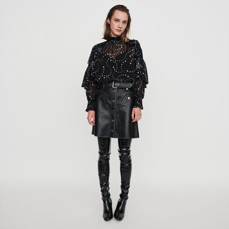 Rüschen Top aus bedrucktem Mousselin : Tops & Hemden farbe Schwarz