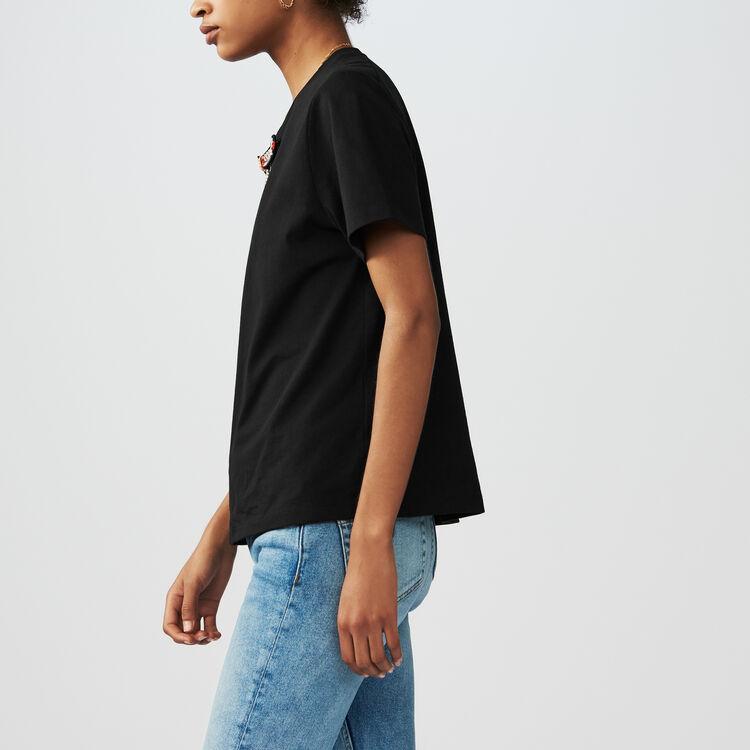 Loose Fit T-Shirt mit Schmuck-Schleife : T-Shirts farbe Schwarz