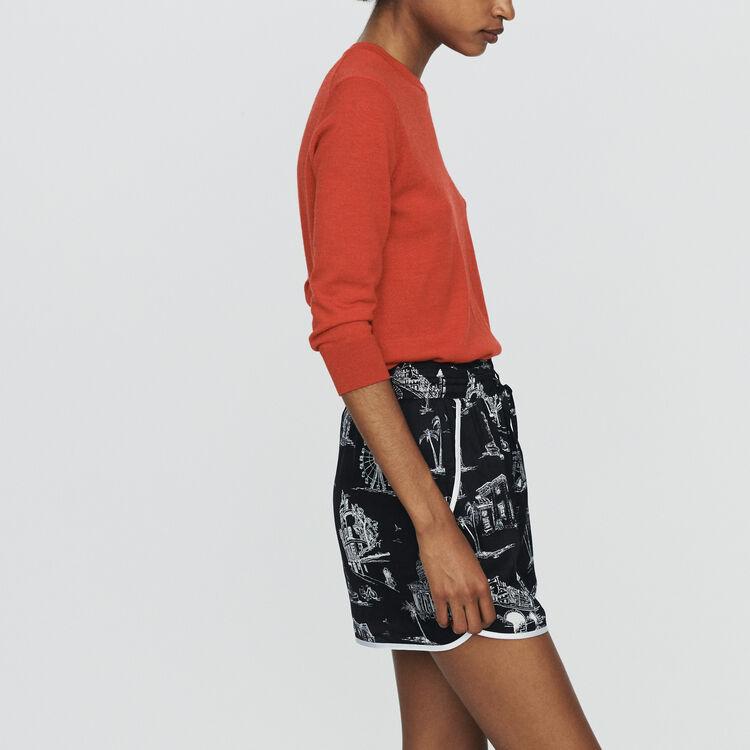 Satin-Shorts mit Paris Print : Röcke & Shorts farbe SCHWARZ