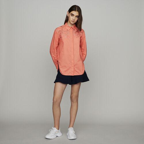 Bluse mit Details aus Gipürspitze : Hemden farbe Koralle