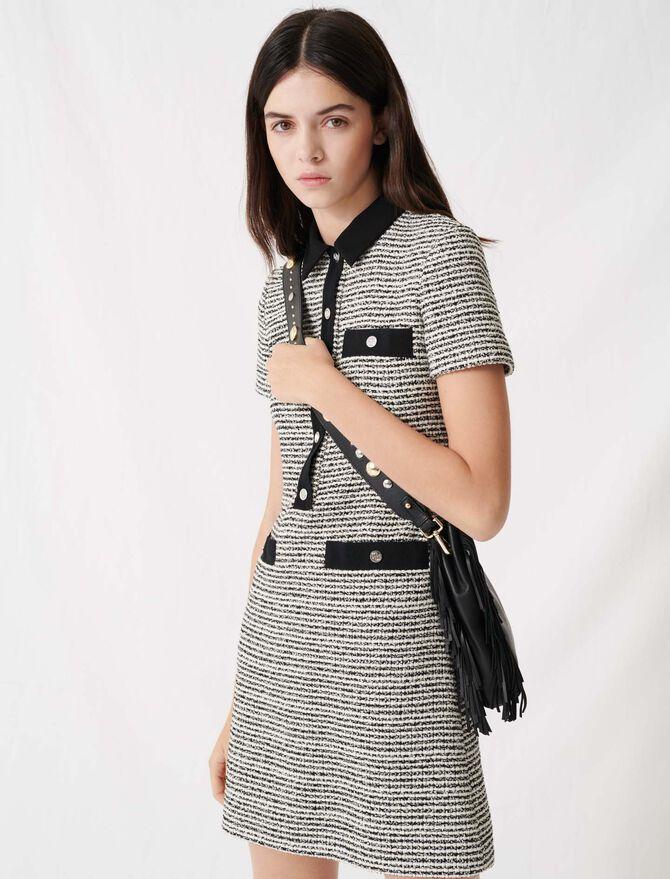 Kleid in Tweed-Optik mit Gürtel - Kleider - MAJE