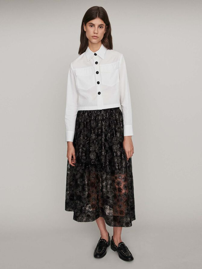Popeline Bluse mit Kontrast-Knöpfen -  - MAJE
