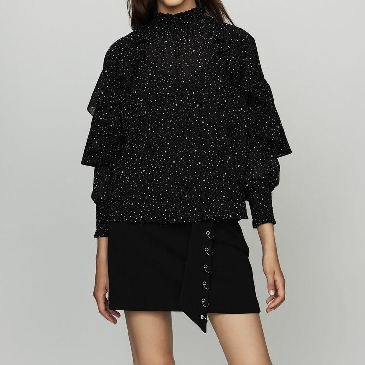Rüschenhemd mit Punkten und Sternen : Hemden farbe SCHWARZ