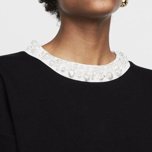 Baumwoll-T-Shirt mit Stickereien : Sweatshirts farbe Schwarz