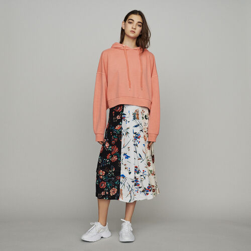 Kurzes Sweatshirt mit Kapuze : Summerparty-Tout_voir-IT farbe Koralle