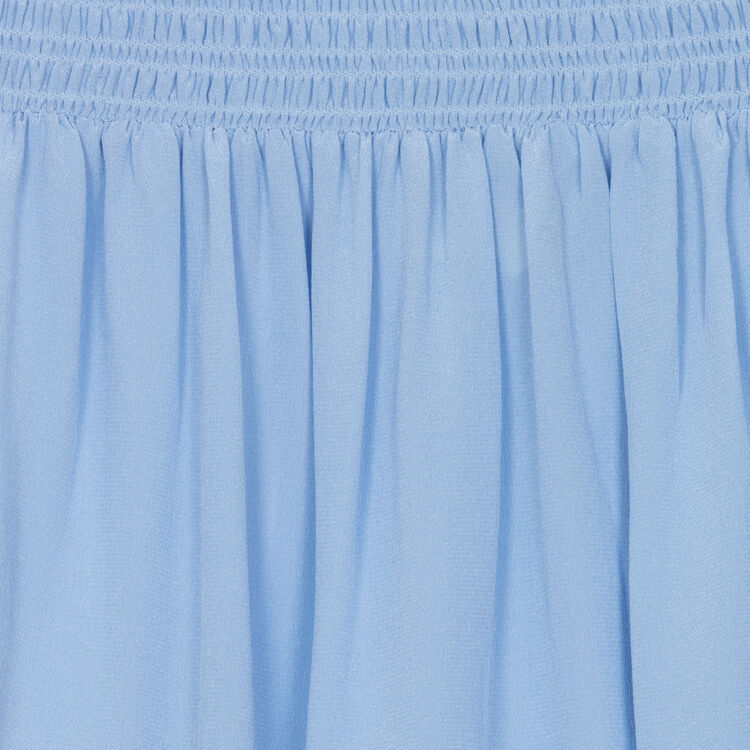 Schulterfreies Seidentop : Majexclusive farbe Jeansblau