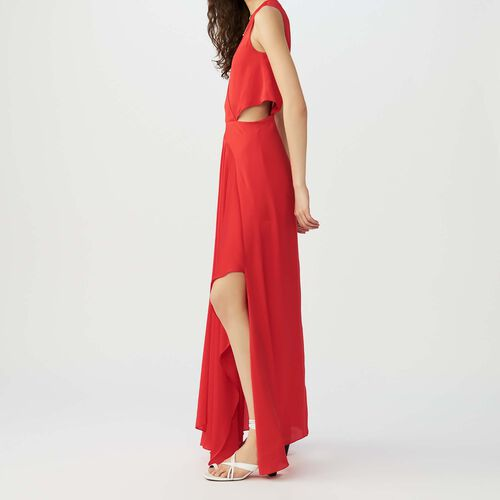 Maxi dress with flounce detail : Kleider farbe Rot