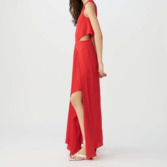 Langes ärmelloses kleid : Kleider farbe Rot
