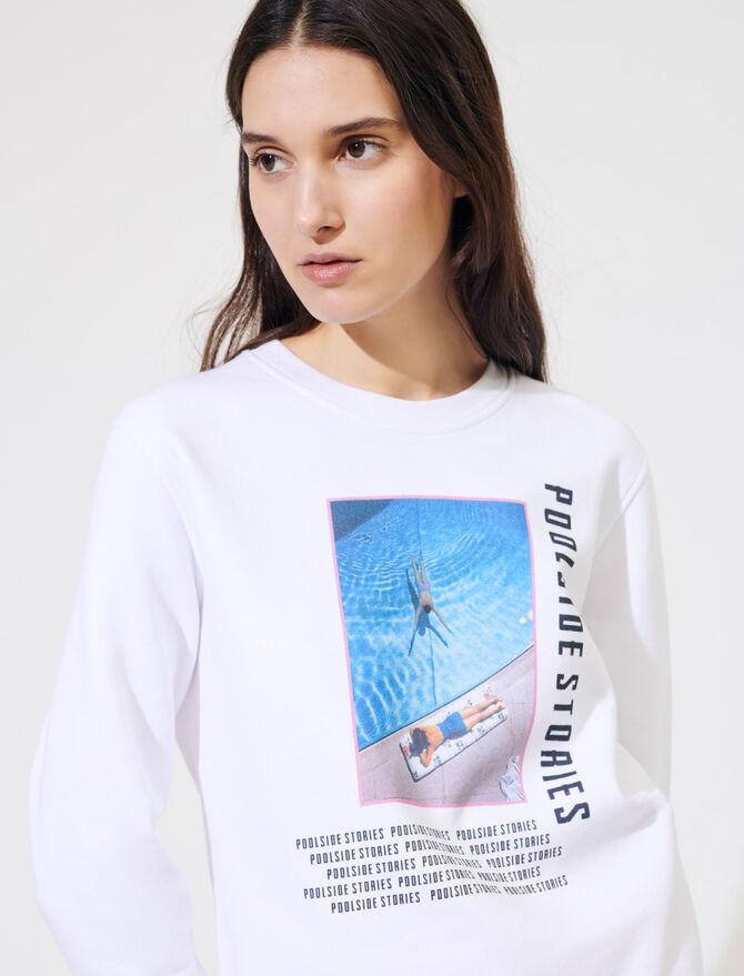 Weißes Sweatshirt mit Siebdruck - Pullover & Strickjacken - MAJE