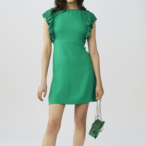 Gerades Kleid mit Faltenärmeln : Kleider farbe VERT