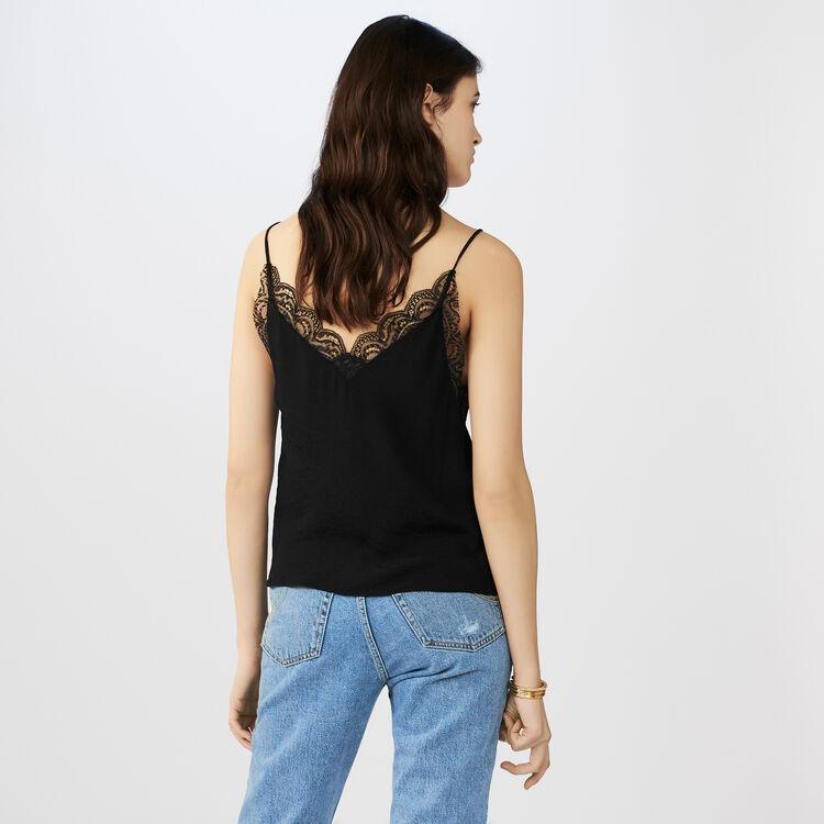 Krepp-Unterhemd mit Spitze : Tops farbe Schwarz