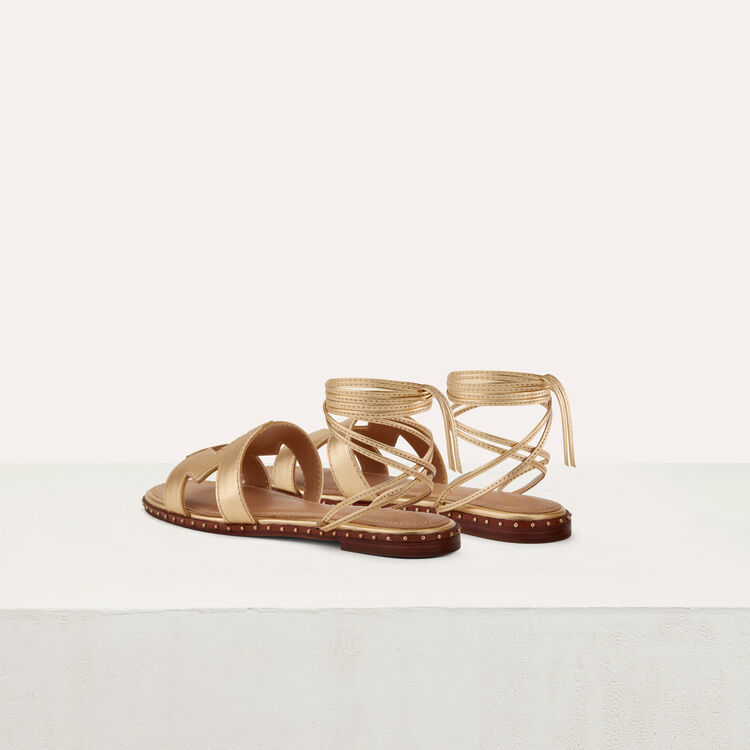 Flat leather sandals : Schuhe farbe Gold