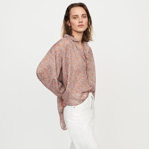 Bluse aus bedruckter Baumwoll-Voile : Tops & Hemden farbe Terracotta