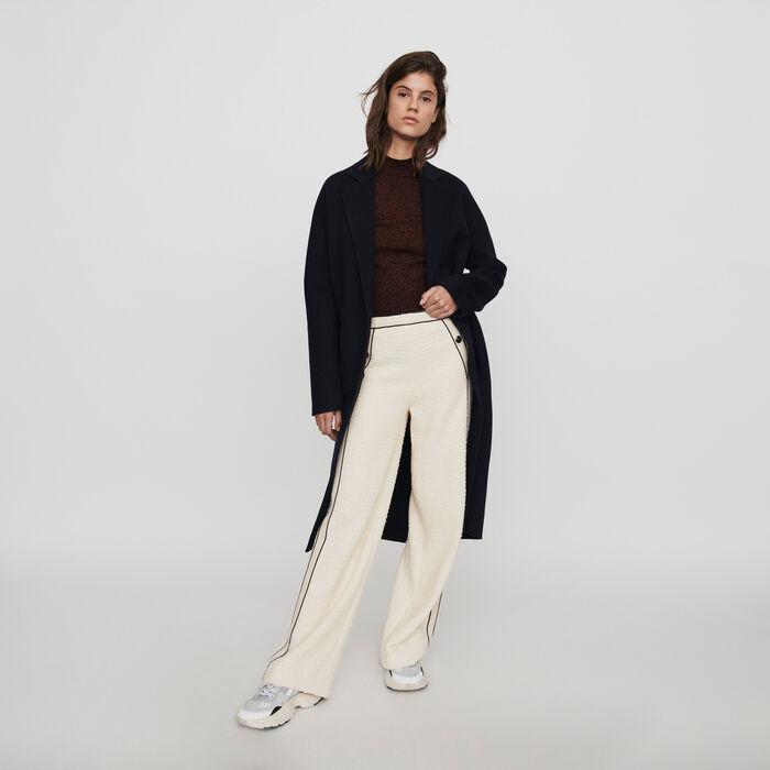 Weite Hose mit konstrastierenden Tweed : Winter Kollektion farbe Ecru