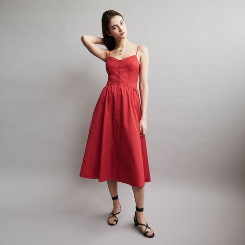 Thin straps dress and crop top : Kleider farbe ROUGE