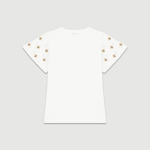 T-Shirt mit aufgestickten Bienen : T-Shirts farbe Ecru