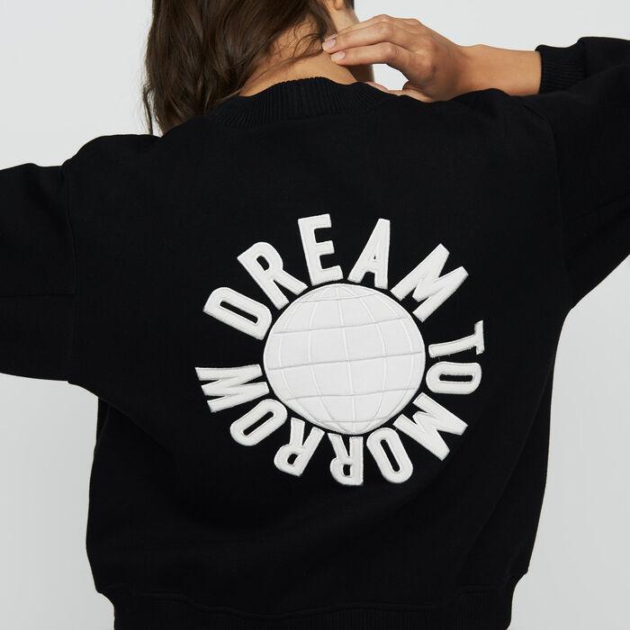 Sweatshirt mit Stickereien am Rücken : Sweatshirts farbe Schwarz