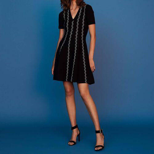 Kleid aus Jacquard-Strick : Kleider farbe Schwarz