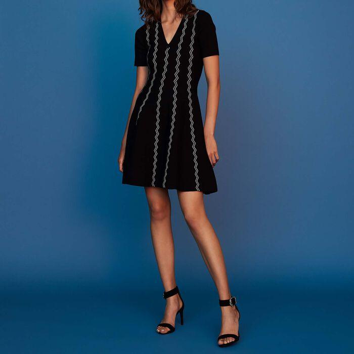 Kleid aus Jacquard-Strick : Neue Kollektion farbe Schwarz