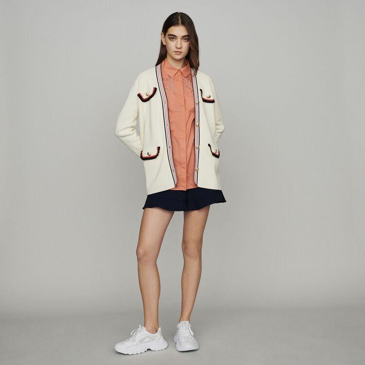 Langer Cardigan aus dichtem Strick : Pullover & Strickjacken farbe ECRU