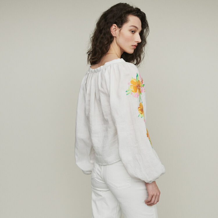 Leinen Bluse mit Stickereien : Tops & Hemden farbe Weiss