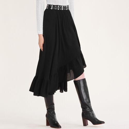 Asymmetrischer Rock mit Rüschen : Jupes & Shorts farbe Schwarz
