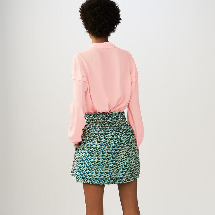 Krepp-Bluse mit Volants : Tops farbe LILA