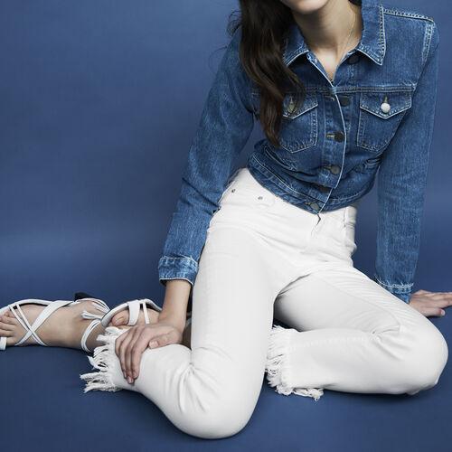 Gerade Jeans mit Fransen am Saum : Jeans farbe Weiss