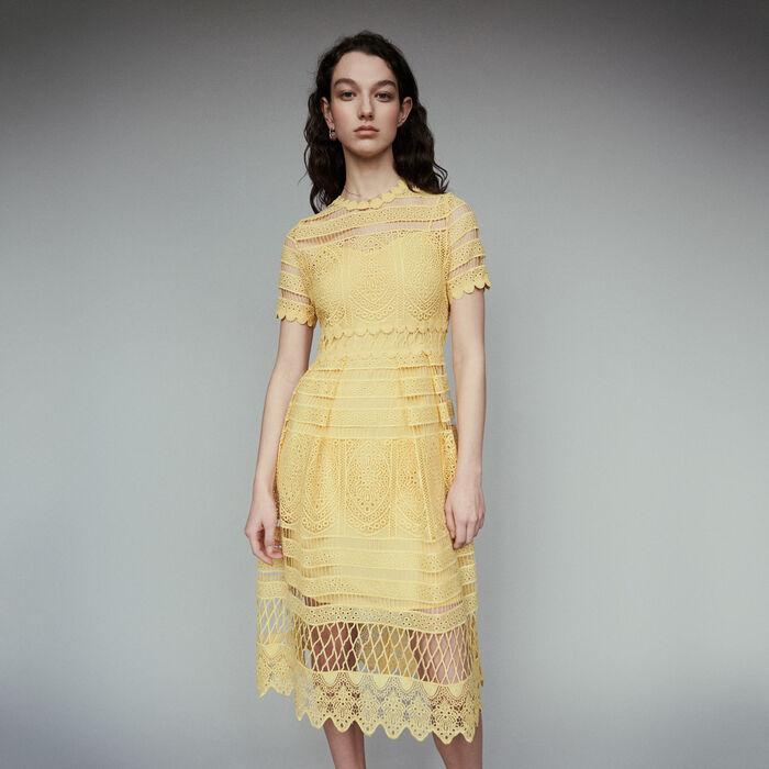 Langes Spitzenkleid : Kleider farbe Gelb