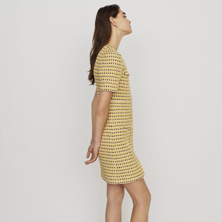 Kurzes Kleid mit Taschen aus Tweed : Kleider farbe Gelb