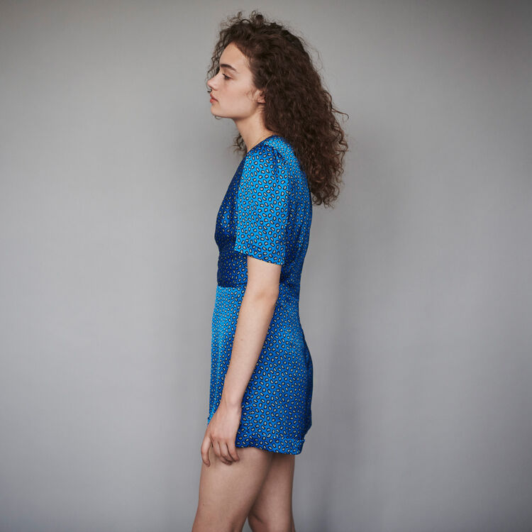 Satin Jumpshort mit Print : Winter Kollektion farbe Blau