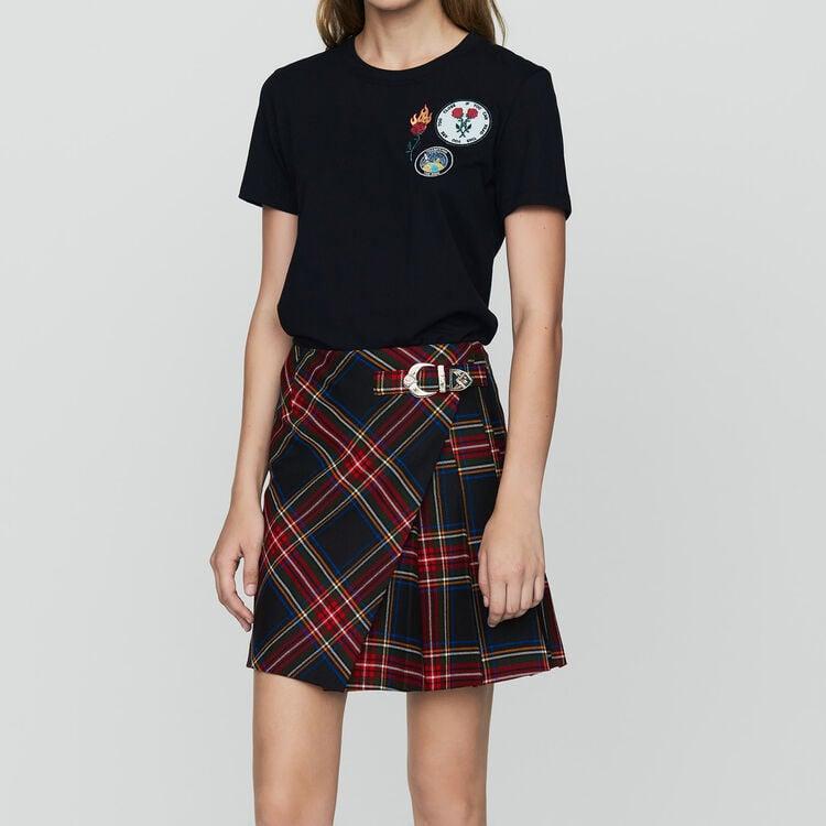Baumwoll-T-Shirt mit Aufnäher : Bekleidung farbe Schwarz