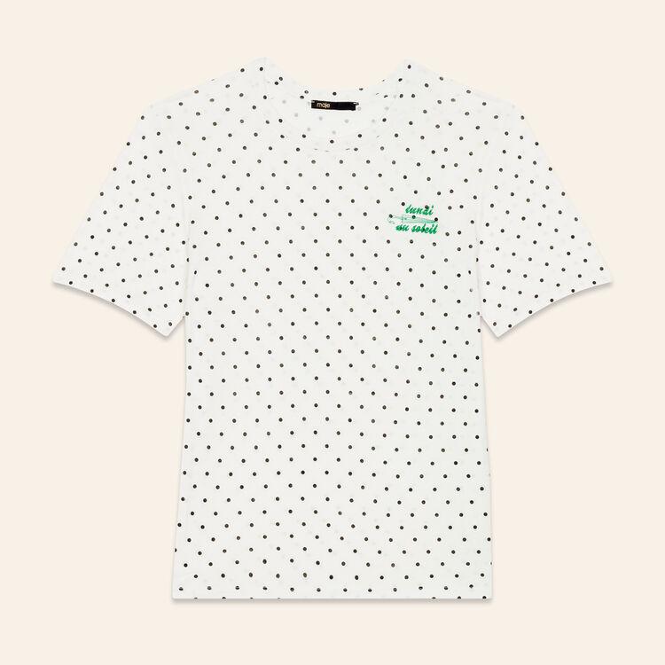 T-Shirt mit Stickerei Montag : T-shirts farbe Weiss