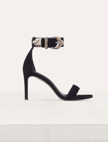 Wildleder-Sandalen mit Absatz : Schuhe farbe Schwarz