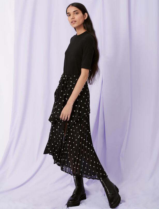 마쥬 원피스 MAJE Trompe-l'oeil-Kleid in Hemd-Optik,Noir / blanc
