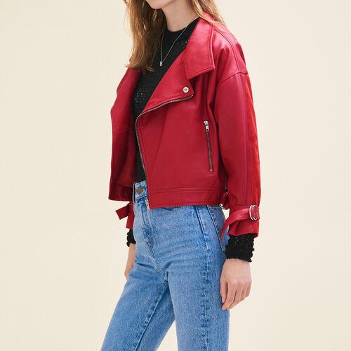 Cazadora estilo vintage de piel : Jacken und Blousons farbe Rot