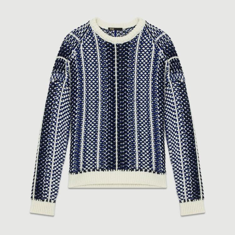 Pullover aus Jacquard-Strick : Strickwaren farbe Blau