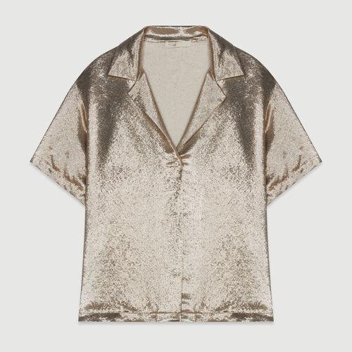 Seiden Bluse im Pyjama Look : Hemden farbe Gold