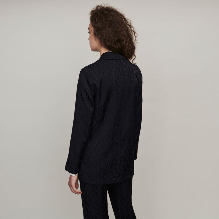 Fliessende Jacke aus Jacquard Satin : Blazers farbe Schwarz