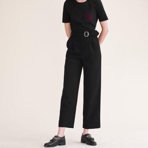 Weite Hose mit Gürtel : Pantalons & Jeans farbe Schwarz