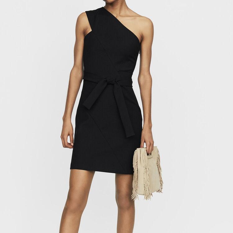 Kurzes Kleid mit asymmetrischen : Bekleidung farbe Schwarz